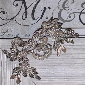 David's Bridal Pearl and Crystal Scroll Hair Clip